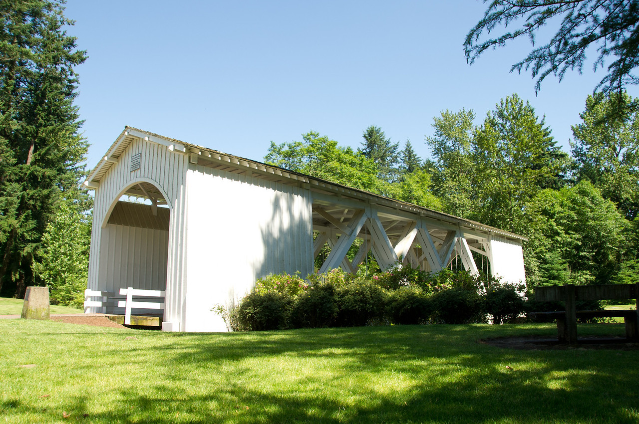 Jordan Covered Bridge 1. Take I-5 to Stayton, Or. turn east on Marion (off of main street) and drive about 5 blocks to the bridge which is located in a city park.