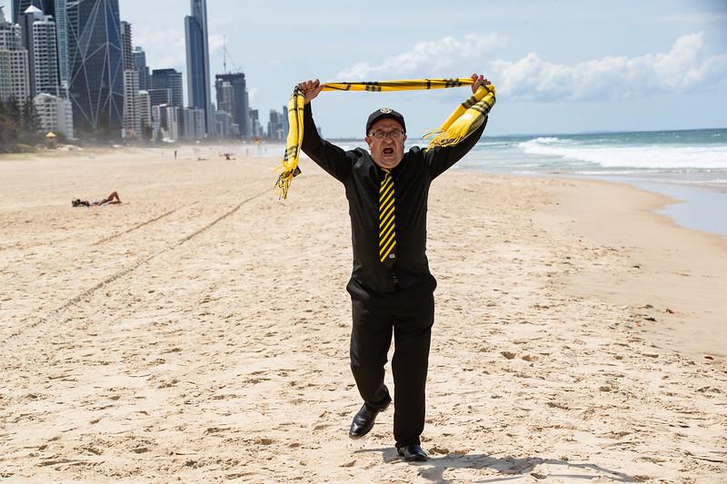 Louis Blitsas Richmond fan. Gold Coast 23 Oct 2020. Photo: Attila Csaszar