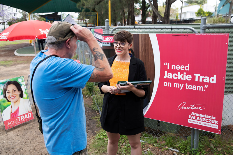 South Brisbane Greens candidate Amy MacMahon voting