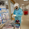 Ranvir Singh, RN in the  ICU inside Holy Name Medical Center in Teaneck, New Jersey, then to a patient during the first few days of the COVID-19 Pandemic. 03/19/2020 Photos by Jeff Rhode  Mandatory photo credit, and please use only with permission from Jeff Rhode and Holy Name Medical Center. <br /> If you need ID's or detailed captions please call 201-543-8067 or email jrhode@holyname.org