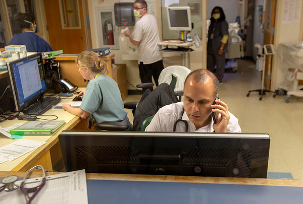 Dr. Suraj Saggar inside the ICU of Holy Name Medical Center in Teaneck, New Jersey,  during the first few days of the COVID-19 Pandemic. 03/19/2020 Photos by Jeff Rhode  Mandatory photo credit, and please use only with permission from Jeff Rhode and Holy Name Medical Center. <br /> If you need ID's or detailed captions please call 201-543-8067 or email jrhode@holyname.org