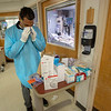Dr. Clenton Coleman inside the ICU of Holy Name Medical Center in Teaneck, New Jersey,  during the first few days of the COVID-19 Pandemic. 03/19/2020 Photos by Jeff Rhode  Mandatory photo credit, and please use only with permission from Jeff Rhode and Holy Name Medical Center. <br /> If you need ID's or detailed captions please call 201-543-8067 or email jrhode@holyname.org