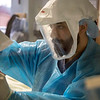 Ranvir Singh, RN in the  ICU inside Holy Name Medical Center in Teaneck, New Jersey, cares for a patient during the first few days of the COVID-19 Pandemic. 03/19/2020 Photos by Jeff Rhode  Mandatory photo credit, and please use only with permission from Jeff Rhode and Holy Name Medical Center. <br /> If you need ID's or detailed captions please call 201-543-8067 or email jrhode@holyname.org