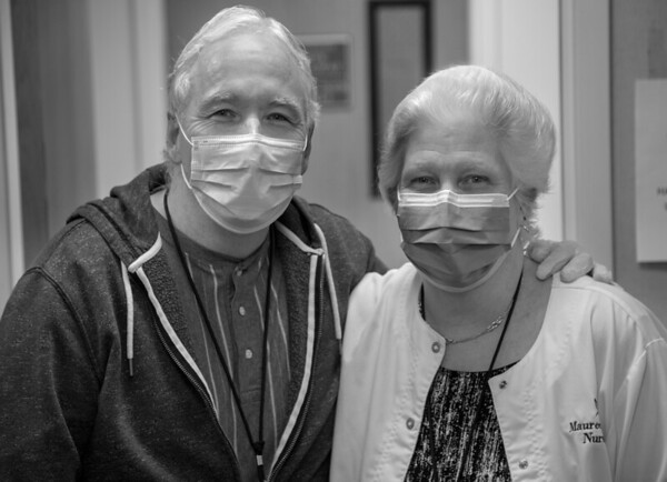 Photos during the first weeks of the COVID-19 Pandemic.  <br /> Pat and Maureen Finnegan<br /> 03/31/2020  Photos by Jeff Rhode/Holy Name Medical Center.  Mandatory photo credit, and please use only with permission from Jeff Rhode and Holy Name Medical Center. <br /> If you need ID's or detailed captions please call 201-543-8067 or email jrhode@holyname.org