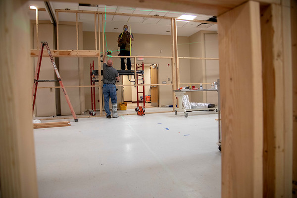 Marian Hall Construction to convert a meeting room to 3 ICU units at<br /> Holy Name Medical Center in Teaneck, New Jersey, during the first weeks of the COVID-19 Pandemic.  04/06/2020  Photos by Jeff Rhode  Mandatory photo credit, and please use only with permission from Jeff Rhode and Holy Name Medical Center. <br /> If you need ID's or detailed captions please call 201-543-8067 or email jrhode@holyname.org