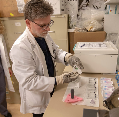 The Pluristem compassionate use drug at Holy Name Medical Center in Teaneck, New Jersey, during the first weeks of the COVID-19 Pandemic.  Vincent Defedele from the pharmacy prepares the the injections. <br /> <br /> 04/11/2020  Photos by Jeff Rhode/Holy Name Medical Center.  Mandatory photo credit, and please use only with permission from Jeff Rhode and Holy Name Medical Center. <br /> If you need ID's or detailed captions please call 201-543-8067 or email jrhode@holyname.org