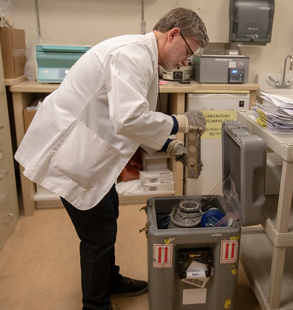 The Pluristem compassionate use drug, at Holy Name Medical Center in Teaneck, New Jersey, during the first weeks of the COVID-19 Pandemic.  Vincent Defedele from the pharmacy prepares the the injections. <br /> <br /> 04/11/2020  Photos by Jeff Rhode/Holy Name Medical Center.  Mandatory photo credit, and please use only with permission from Jeff Rhode and Holy Name Medical Center. <br /> If you need ID's or detailed captions please call 201-543-8067 or email jrhode@holyname.org