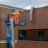Facilities employees repair torn air ducts from the heavy winds. The air ducts are venting patient rooms at Holy Name Medical Center during the first weeks of the COVID-19 Pandemic. <br /> <br /> 04/09/2020  Photos by Jeff Rhode/Holy Name Medical Center.  Mandatory photo credit, and please use only with permission from Jeff Rhode and Holy Name Medical Center. <br /> If you need ID's or detailed captions please call 201-543-8067 or email jrhode@holyname.org