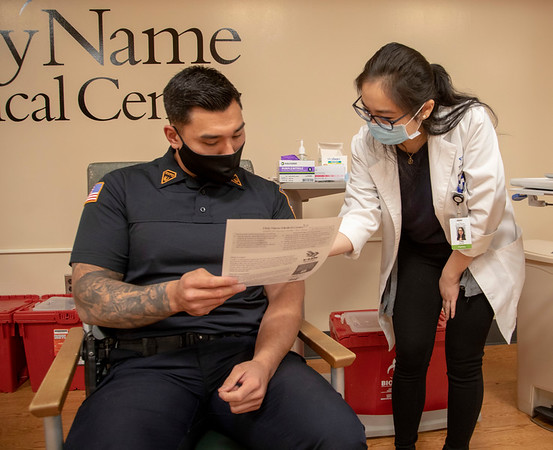 The Moderna COVID-19 vaccine is prepared and administered at Holy Name Medical Center. <br /> River Vale Detective Chris Yoo received his first dose of the vaccine on 1/11/21. <br /> Mandatory photo credit to Jeff Rhode/Holy Name Medical Center
