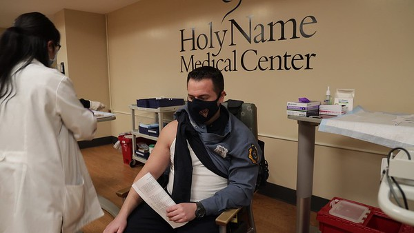 The Moderna COVID-19 vaccine is prepared and administered at Holy Name Medical Center on 1/11/21. <br />  Mandatory credit to Jeff Rhode/Holy Name Medical Center