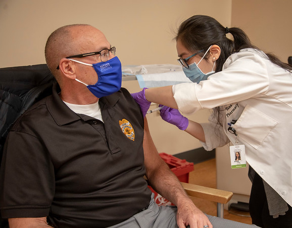 The Moderna COVID-19 vaccine is prepared and administered at Holy Name Medical Center. <br /> South Hackensack Police Chief Joe Terraccino received his first dose of the vaccine on 1/11/21. <br /> Mandatory photo credit to Jeff Rhode/Holy Name Medical Center