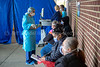 A COVID swabbing station set up outside Holy Name Medical Center in Teaneck, New Jersey, during the first few days of the COVID-19 Pandemic. 03/17/2020 Photo by Jeff Rhode /Holy Name Medical Center