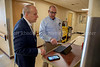 Adam Jarret, chief medical officer, and Steve Mosser, VP of operations, discuss plans to expand the ICU inside Holy Name Medical Center in Teaneck, New Jersey, during the first few days of the COVID-19 Pandemic. 03/18/2020 Photo by Jeff Rhode /Holy Name Medical Center