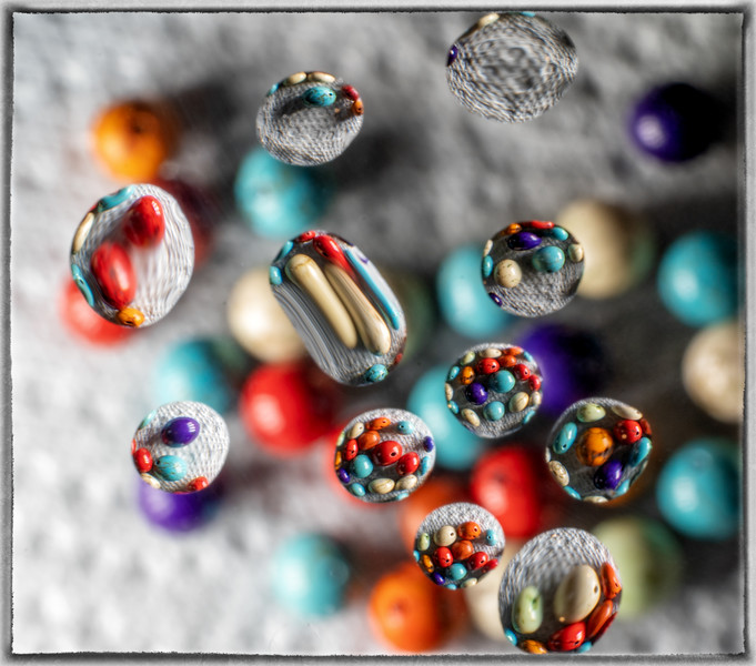 Beads in Water Droplets