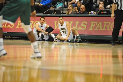 Cal Poly Men's Basketball Vs Hawai'i. The Mustangs fell 59-65. Feb. 5, 2015. Photo by Ian Billings