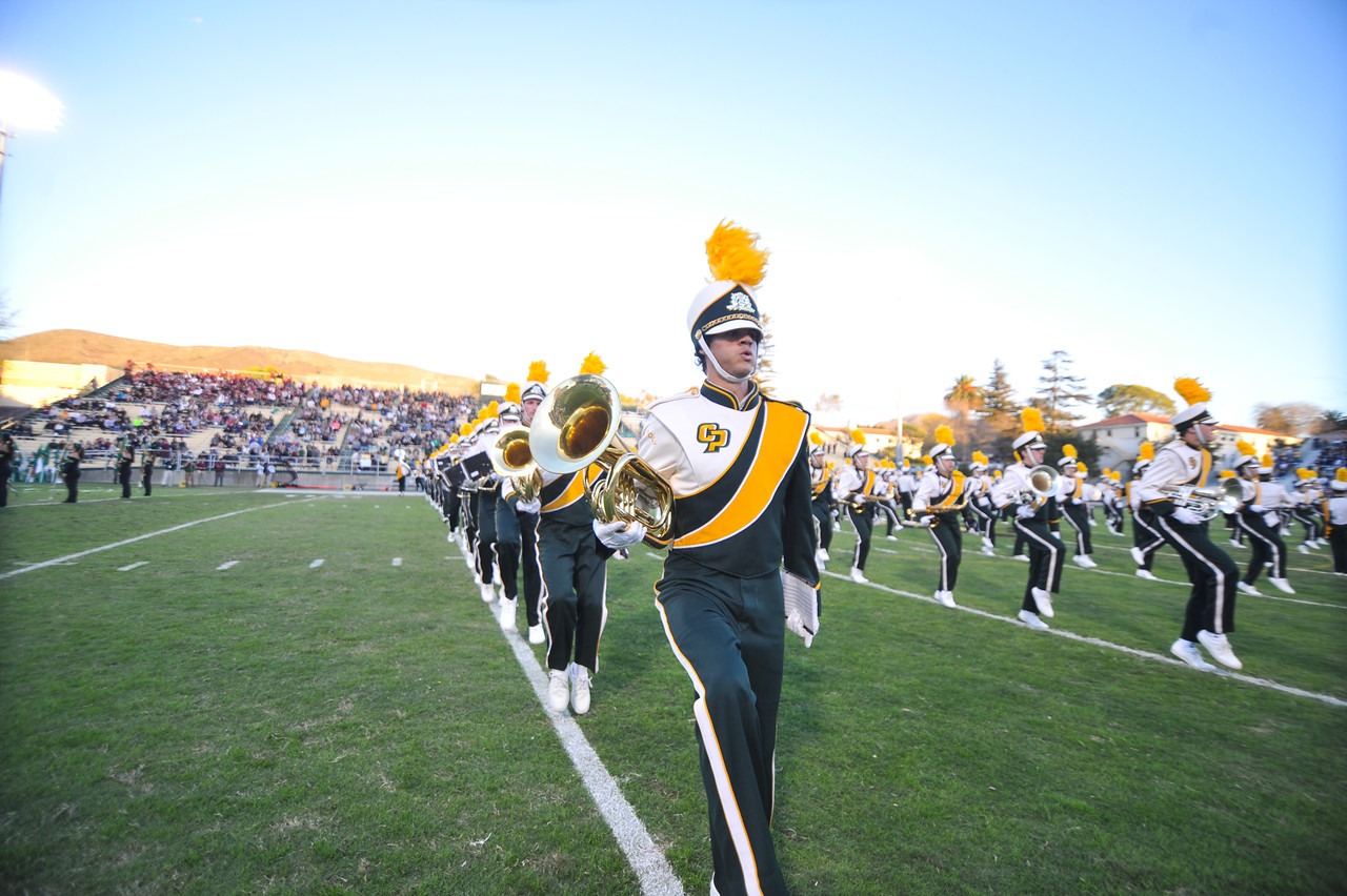The Pride of the Pacific, the Mustang Marching Band, on game day vs Montana. October 25, 2014. Photo by Ian Billings.