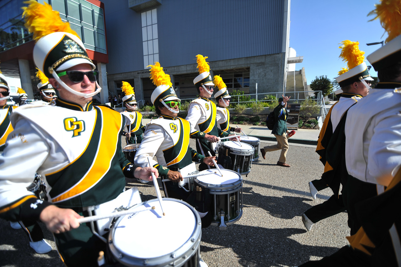 The Pride of the Pacific, the Mustang Marching Band, performs on game day vs Portland State. September 20, 2014. Photo by Ian Billings.