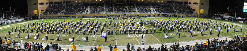 The Pride of the Pacific, the Mustang Marching Band, performs on game day vs UC Davis. Nov. 16, 2014. Photo by Ian Billings