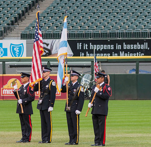 The Color Guard at the Chicago Police vs Chicago Fire Charity Baseball Game, US Cellular Field, Chicago, Illinois