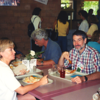 Here they are enjoying Lunch at Red Jacket at Ellicott (1990s)