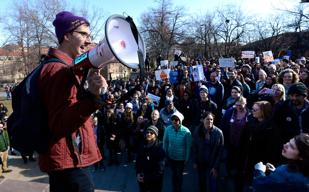 . Brandon Daniels, a part-time teaching instructor and organizer for the Committee on Rights and Compensation (CRC) University of Colorado\'s Graduate Labor Union, addresses the crowd outside the Regent Administrative Center during a protest against students fees paid by graduate students on Tuesday February 5, 2019.  For more photos and video go to dailycamera.com (Photo by Paul Aiken/Staff Photographer)