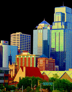 Kansas City Skyline -Northeastward View