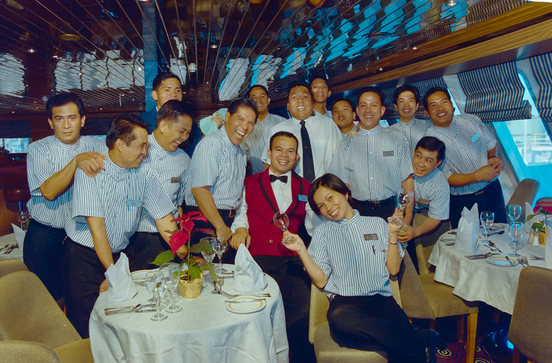 Bar crew having a ball in the Yacht Club