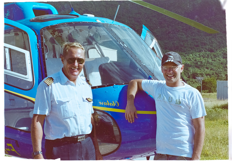 Dr Arno Arno Shonken boards a helicopter at Bora Bora