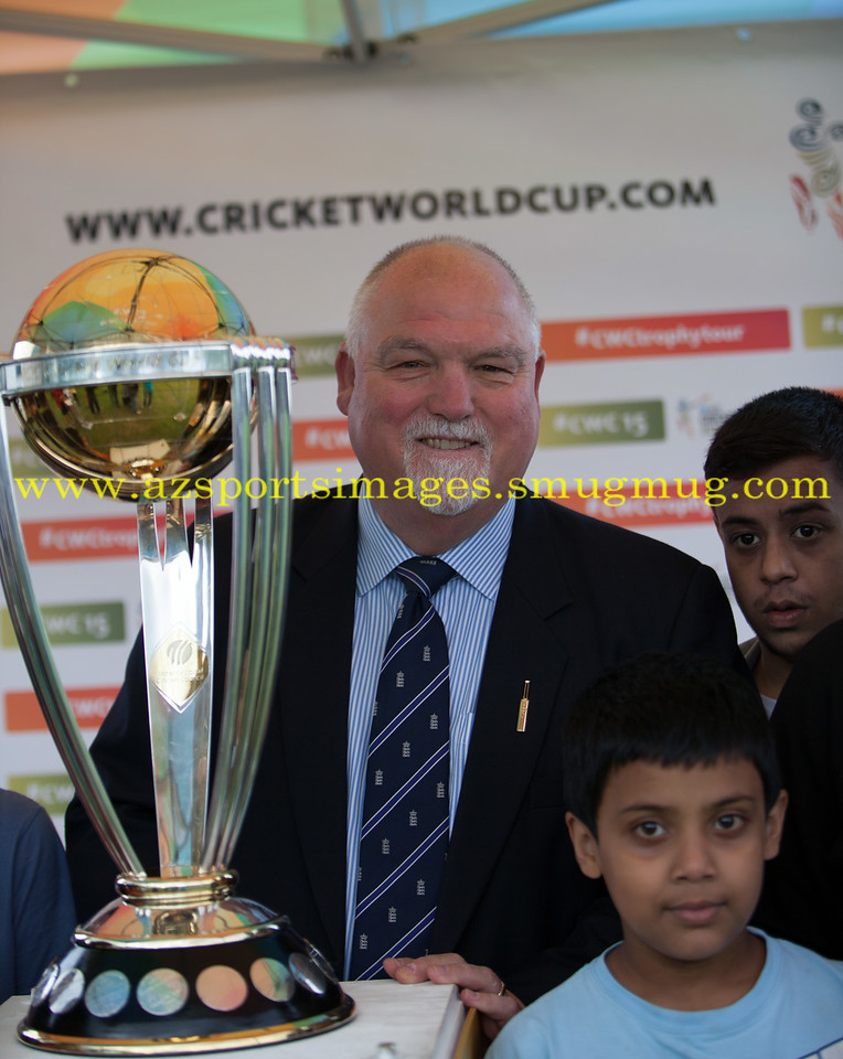 Former England Cricket captain MIKE GATTING with the ICC WORLD CUP TROPHY