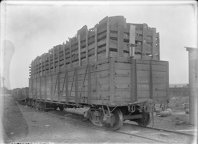 2018.18.GP.027--philip weibler collection 5x7 glass plate neg--CRI&P--C&NW gondola loaded with scrap iron from locomotives at company shops--Silvis IL--no date