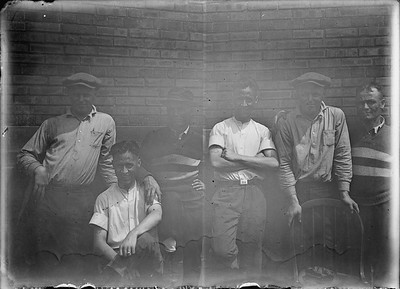 2018.18.GP.029--philip weibler collection 5x7 glass plate neg--CRI&P--company shops employees --Silvis IL--no date