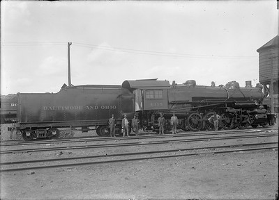 2018.18.GP.011--philip weibler collection 5x7 glass plate neg--CRI&P--B&O 2-8-2 4315 at company shops with employees--Silvis IL--no date