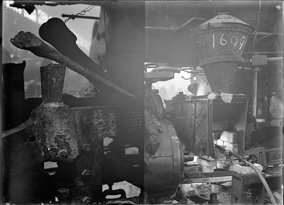 2018.18.GP.028--weibler collection 5x7 glass plate--CRI&P--thermite in place weld repair to steam locomotive frame at company shops--Silvis IL--no date