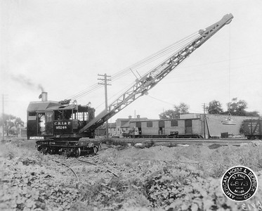 2020.016.W.022--phil weibler collection 8x10 photostat--CRI&P--steam locomotive crane 95248 (American Hoist & Derrick Co)--St Paul MN--1927 0700. One of two 2-ton locomotive cranes, numbers 95248 and 95249.