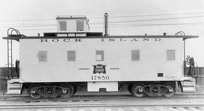 2020.016.C.008--phil weibler collection 8x10 print--CRI&P--new steel caboose 17850--Chicago IL--1930 0500. Built at Rock Island 124th Street shops, Blue Island, IL. Exterior painted aluminum to reduce interior temperature up to ten degrees in summer.