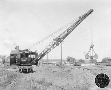 2020.016.W.023--phil weibler collection 8x10 photostat--CRI&P--steam locomotive crane 95248 (American Hoist & Derrick Co)--St Paul MN--1927 0700. One of two 2-ton locomotive cranes, numbers 95248 and 95249.