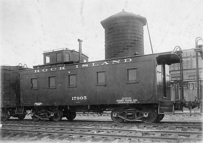 2020.016.C.001--phil weibler collection 8x10 print--CRI&P--wooden caboose 17905--location unknown--c1921 0000