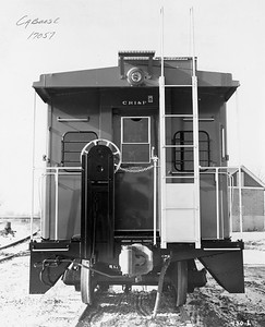 2020.016.C.002--phil weibler collection 8x10 print--CRI&P--caboose 17057 end view--location unknown--no date