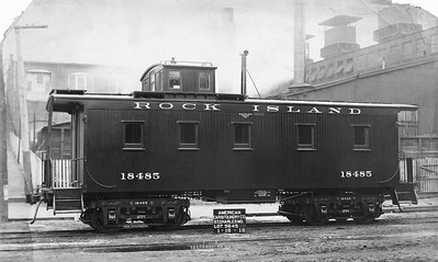 2020.016.C.001P--phil weibler collection 8x13 print--CRI&P--wooden caboose 18485 (AC&F lot 5645)--St Charles MO--1910 0115. 50 cars numbered 18450-18499.