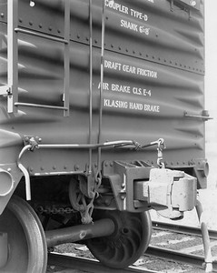 2020.016.F.014--phil weibler collection 8x10 print--CRI&P--automobile boxcar 159000-159249 series (Standard Streel Car Co) end detail view of Klasing handbrake released--location unknown--c1927 0000. Part of an order for 500 cars, 159000-159249 solid ends, 160000-160249 end doors.