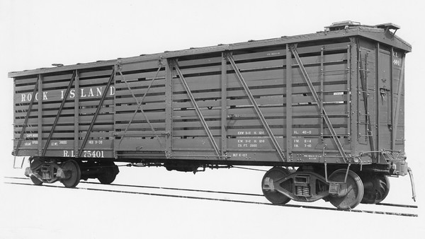 2020.016.F.008--phil weibler collection 8x10 print [Bodies Art Studio]--CRI&P--wooden stockcar 75401 after rebuild from boxcar--Chicago IL--1935 0000. 411 B-1 boxcars rebuilt to stockcars 75400-75870 series by Ryan Car Co., Hegewisch, IL, 1935.