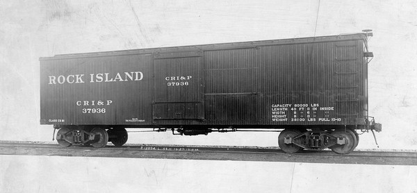 2020.016.F.011--phil weibler collection 8x10 print--CRI&P--wooden automobile boxcar 37936 (Pullman lot 5211)--location unknown--1910 1027