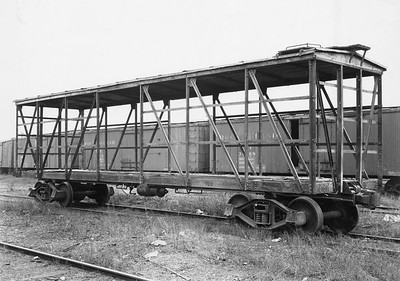 2020.016.F.007--phil weibler collection 8x10 print [Bodies Art Studio]--CRI&P--wooden stockcar during rebuild to stockcar--Chicago IL--1935 0000. 411 B-1 boxcars rebuilt to stockcars 75400-75870 series by Ryan Car Co., Hegewisch, IL, 1935.
