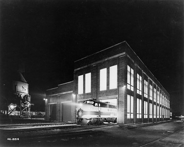 2020.016.OD.001--phil weibler collection 8x10 print--GN--new diesel shop exterior night view--Havre MT--1945 0000