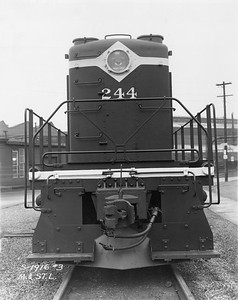 2020.016.OD.023--phil weibler collection 8x10 print--ALCO diesel locomotive 244 end view--location unknown--no date