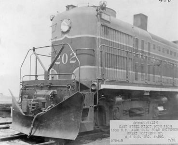 2020.016.OD.024--phil weibler collection 8x10 print--GN--ALCO diesel locomotive 202 with cast steel pilot snowplow--location unknown--1951 0700