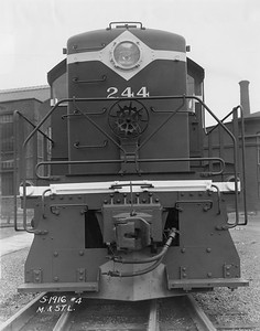 2020.016.OD.022--phil weibler collection 8x10 print--M&StL--ALCO diesel locomotive 244 end view--location unknown--no date