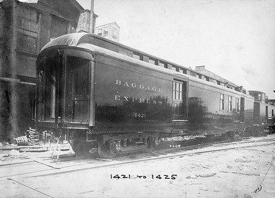 2020.016.PH.019A--phil weibler collection 10x14 print--CRI&P--wooden baggage-express car 1421 (1421-1425 series AC&F lot 4668)--Jeffersonville IN--c1911 0000
