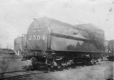 2020.016.S.031--phil weibler collection 5x7 photostat--CRI&P--steam locomotive 2-8-2 2504 tender rear view--location uknown--no date
