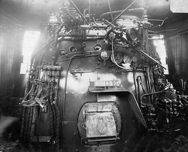 2020.016.S.019--phil weibler collection 8x10 print--B&O--steam locomotive 2-8-2 H-63 2643-2648 cab interior--location unknown--1923 0000